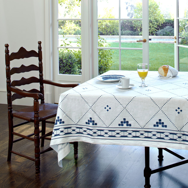 Blue And White Linen Tablecloth By Huddleson Contemporary Dining Room B