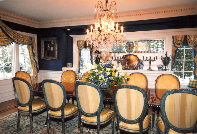 Blue yellow dining room traditional dining room - Yellow and blue dining room ...