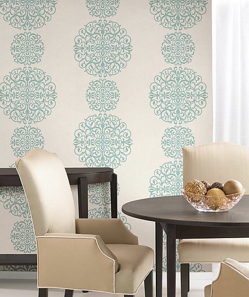 Blue medallion wallpaper contemporary dining room for Wallpaper for dining room feature wall