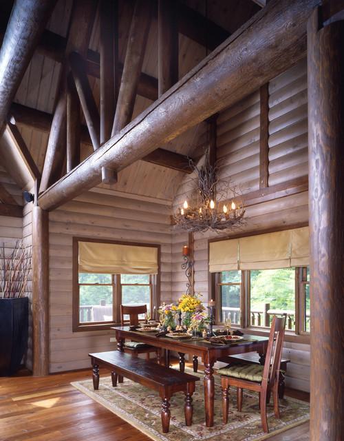 Blue ridge mountain log cabin montagne salle manger for Log cabin montagne blu