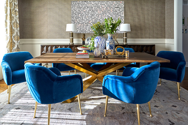 Awe Inspiring Blue Upholstered Dining Room Chairs Transitional Dining Pabps2019 Chair Design Images Pabps2019Com