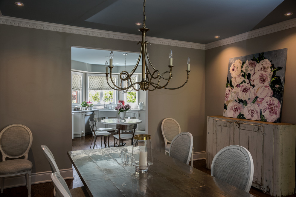 Dining room - traditional dark wood floor dining room idea in Toronto with gray walls