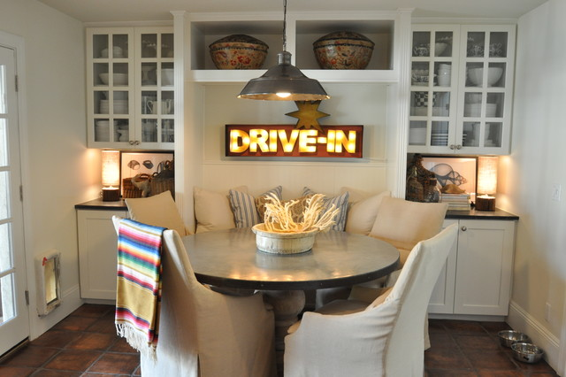 Eclectic Dining Room Photo In Phoenix With White Walls