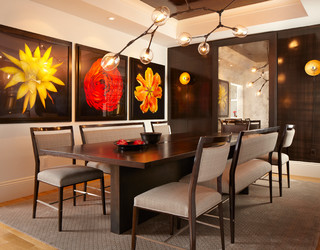 Contemporary dining for Bold dining room colors