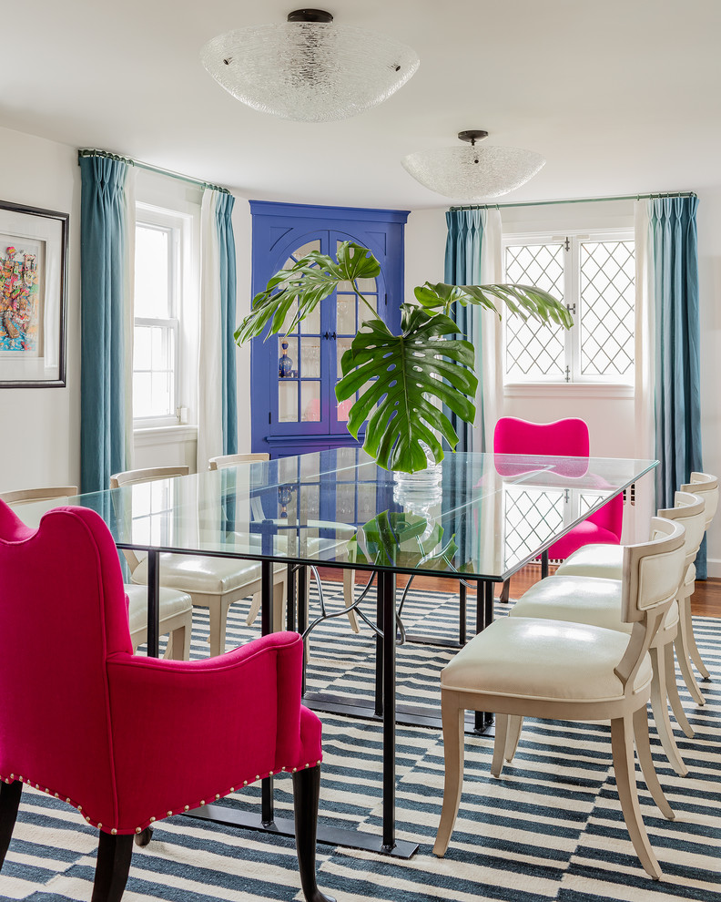 Example of a transitional dining room design in Boston