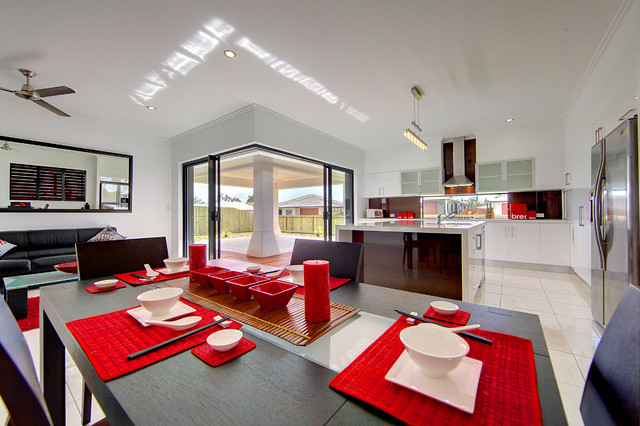 Bonnett Road Townsville Display Home contemporary-dining-room