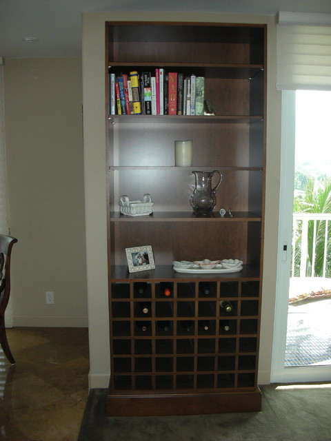 Bookcase with wine rack contemporary-dining-room