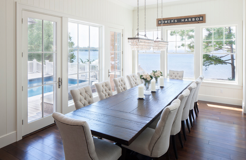 Inspiration for a large coastal dark wood floor kitchen/dining room combo remodel in Other with white walls