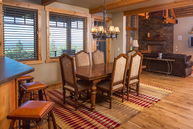 Brasada ranch home design single story with media room for Western dining room ideas
