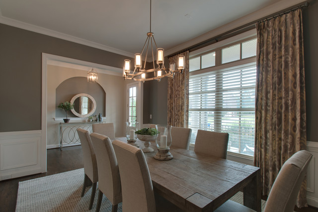Mid-sized 1960s dark wood floor and brown floor dining room photo in Nashville with gray walls