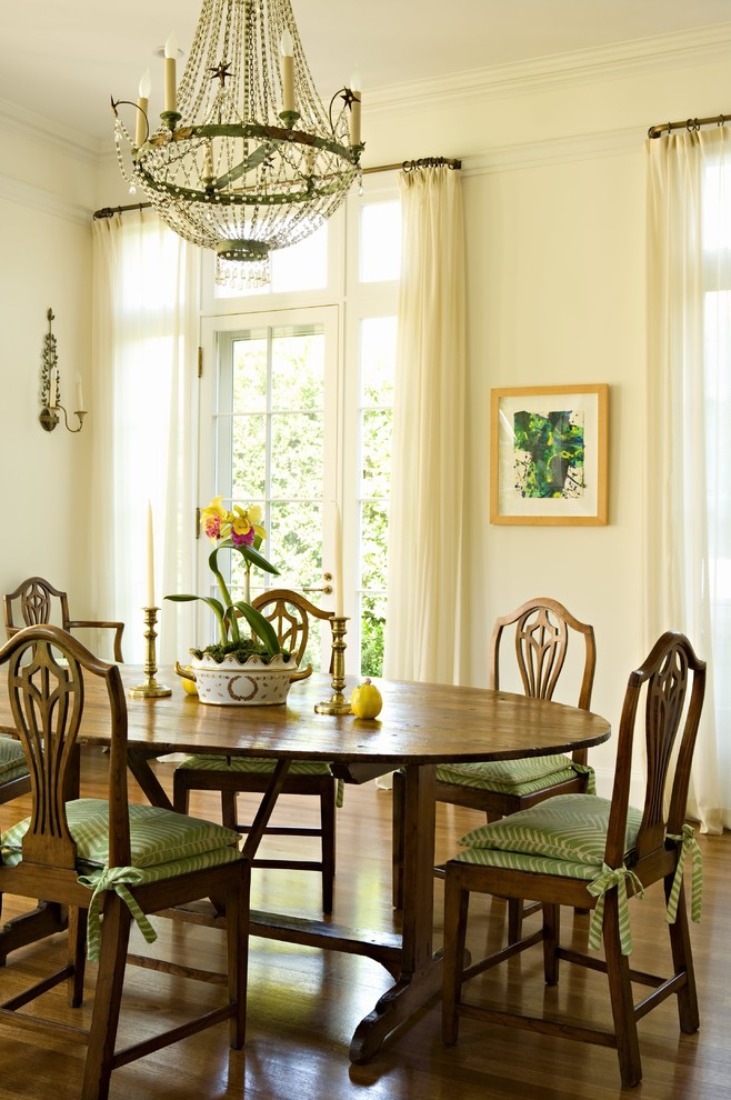 Inspiration for a timeless dark wood floor dining room remodel in Los Angeles with white walls