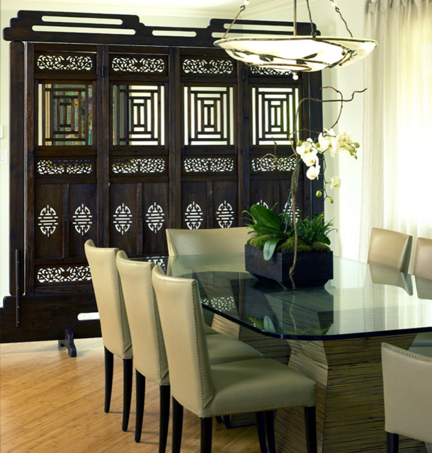 Example of an asian dining room design in Los Angeles