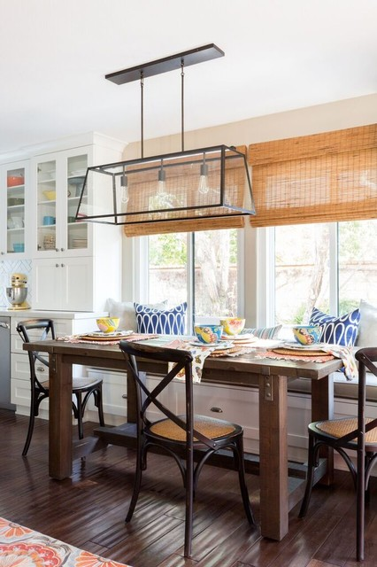 Kitchen/dining room combo - transitional dark wood floor and brown floor kitchen/dining room combo idea in Los Angeles