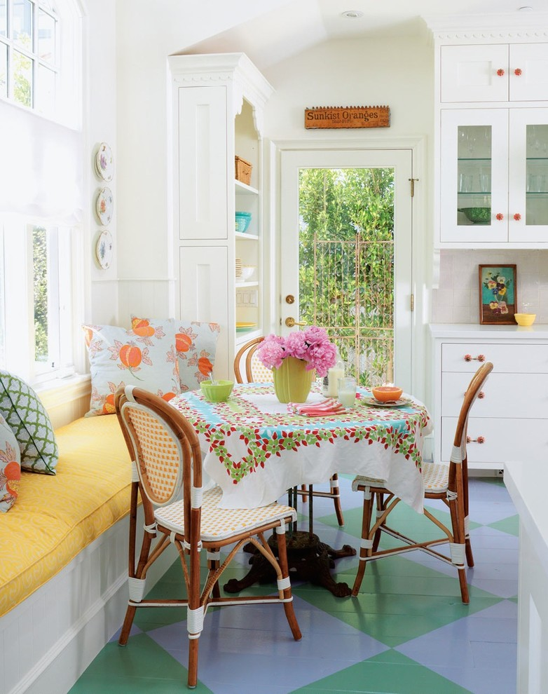 Inspiration for a mid-sized coastal painted wood floor and multicolored floor kitchen/dining room combo remodel in Los Angeles with white walls