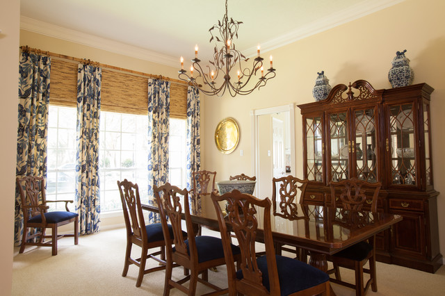 British Colonial Traditional Dining Room Houston