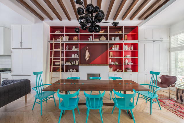Example Of A Trendy Light Wood Floor Dining Room Design In Portland With Red  Walls Part 60