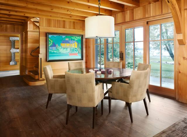 Brookside Retreat contemporary-dining-room