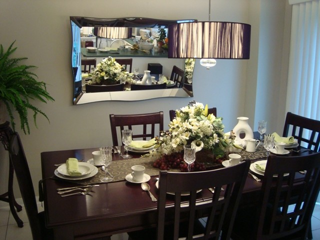 brown and offwhite dining room