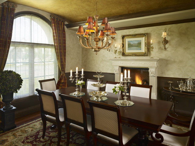 Buell mansion old world stone mantels and fireplaces for Traditional dining room fireplace