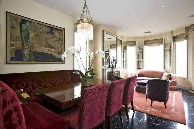 Buena vista deco traditional dining room san francisco by jerry jacobs design inc for Maroon and green living room