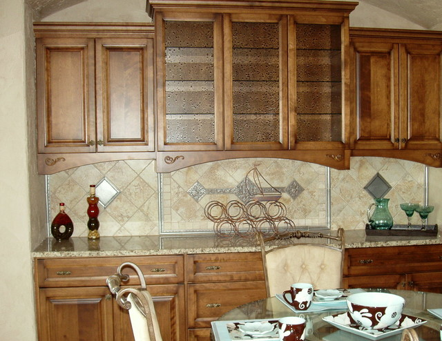 built-in buffet with opulent scroll knobs and pulls - traditional