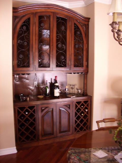 Built In Wine Cabinet - Mediterranean - Dining Room - los angeles - by Upstairs Downstairs Furniture