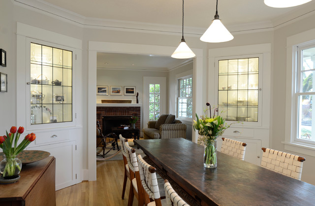 Example Of A Classic Medium Tone Wood Floor Dining Room Design In Portland  With Gray Walls