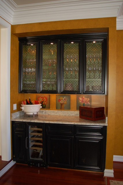 Beautiful Butler Pantry Glazed Interior Cabinets Eclectic Dining Room