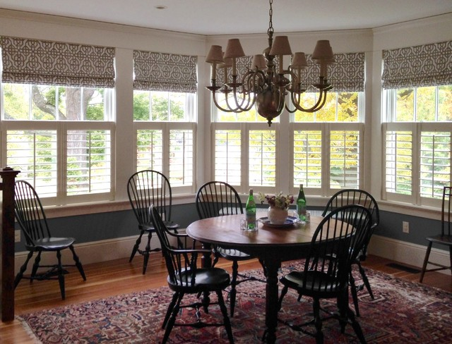 Cafe Shutters With Roman Shades Traditional Dining Room