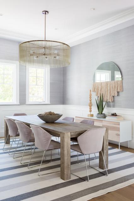 Great room - large beach style light wood floor and beige floor great room idea in Los Angeles with metallic walls