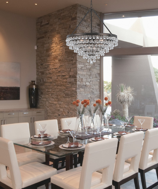 "Modern Chandeliers Contemporary Dining Room: Calypso Collection 8-Light 24"" Vibrant Bronze Chandelier"