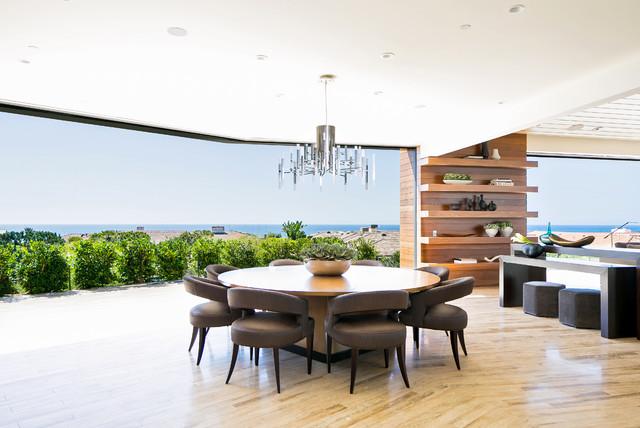 Dining room - contemporary beige floor dining room idea in Orange County