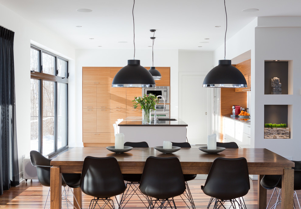 Inspiration for a contemporary kitchen/dining room combo remodel in Montreal with white walls and no fireplace