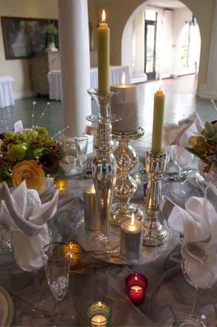 Candle Centerpiece Eclectic Dining Room