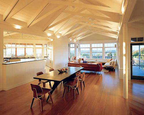 open ceiling lighting ideas - open beam ceiling