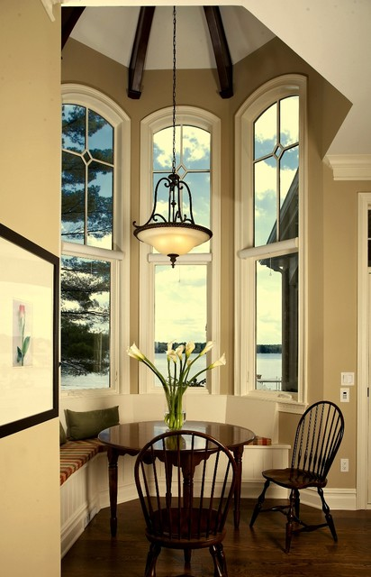 Cape Cod, Shingle style lake home traditional-dining-room