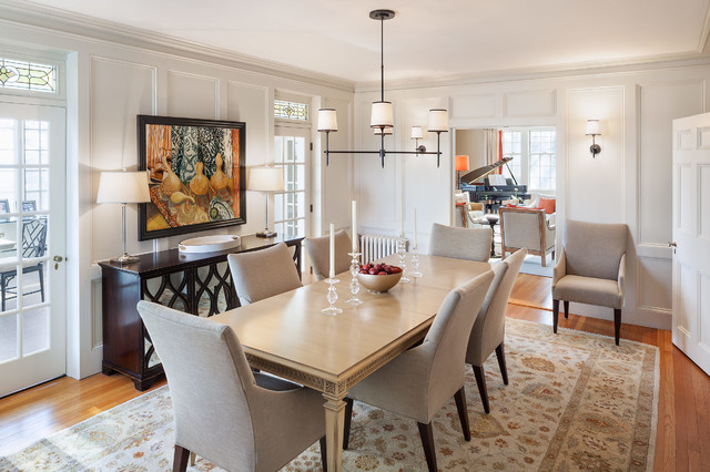 Dining Room   Transitional Medium Tone Wood Floor Dining Room Idea In  Portland Maine With White