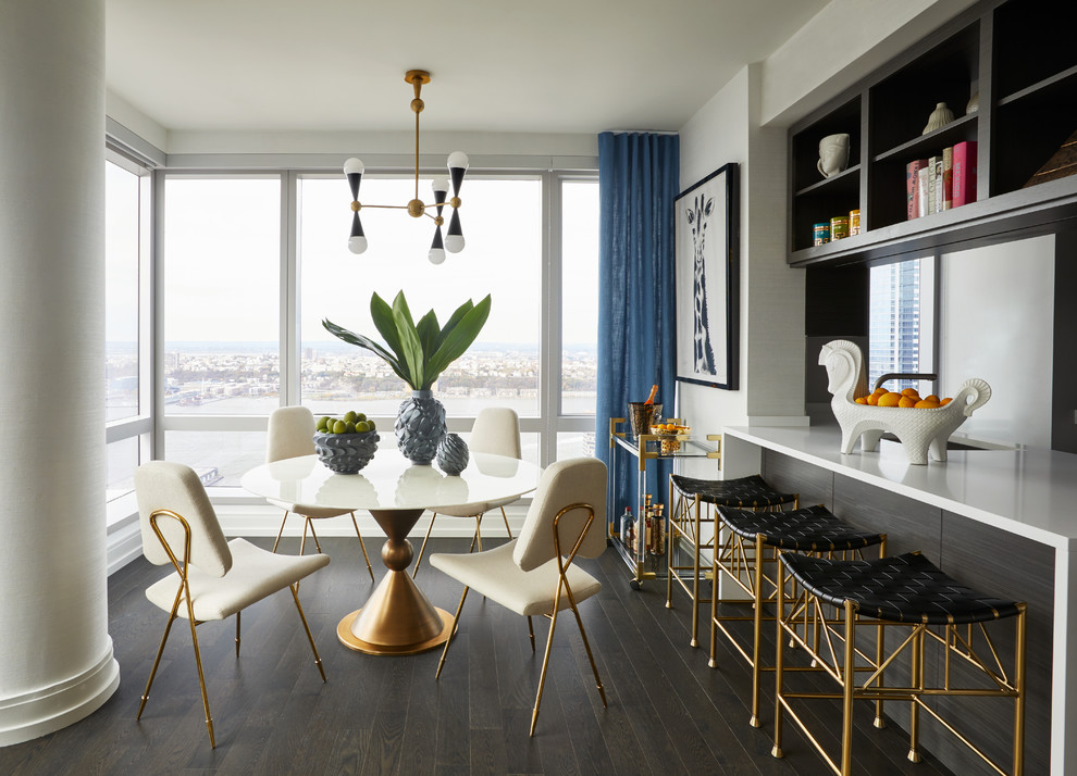 Trendy dark wood floor and brown floor dining room photo in New York with white walls