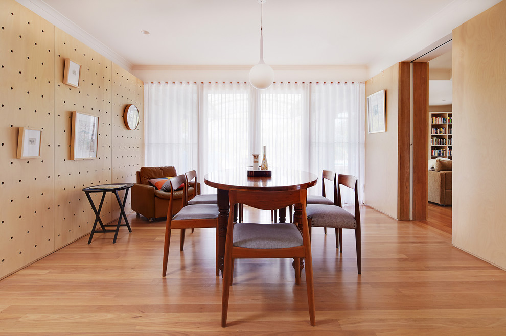 Inspiration for a scandinavian light wood floor enclosed dining room remodel in Perth