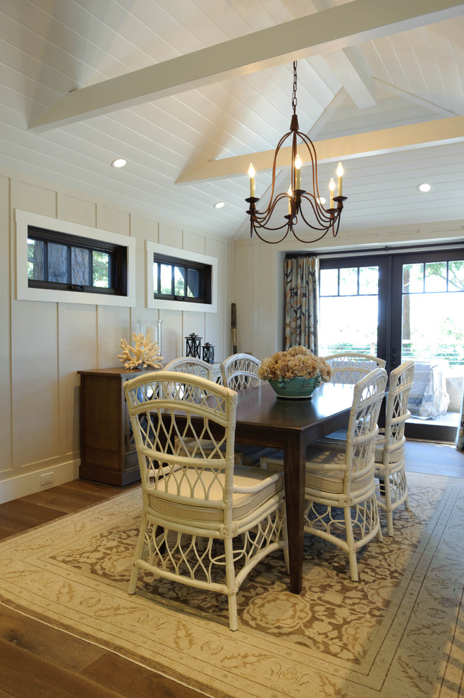 Inspiration for a beach style dark wood floor dining room remodel in San Francisco