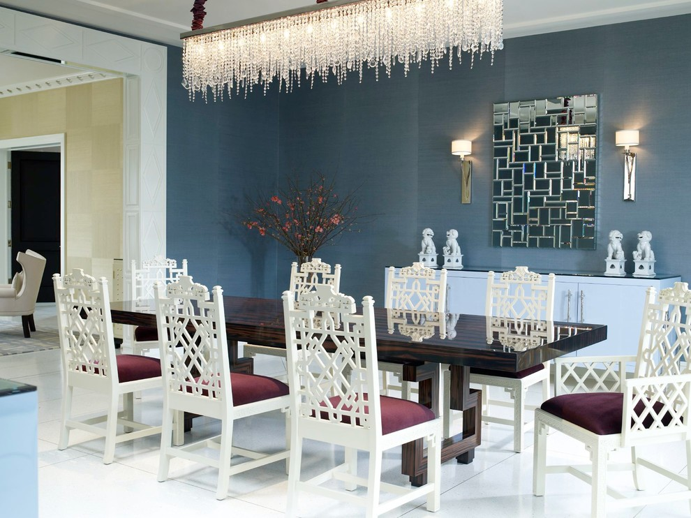 Example of a trendy dining room design in Miami with blue walls