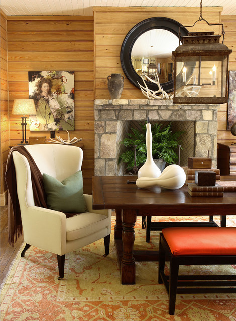 Mountain style dining room photo in Atlanta