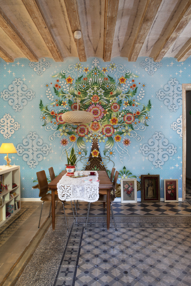 Great room - large eclectic ceramic floor great room idea in Barcelona with blue walls