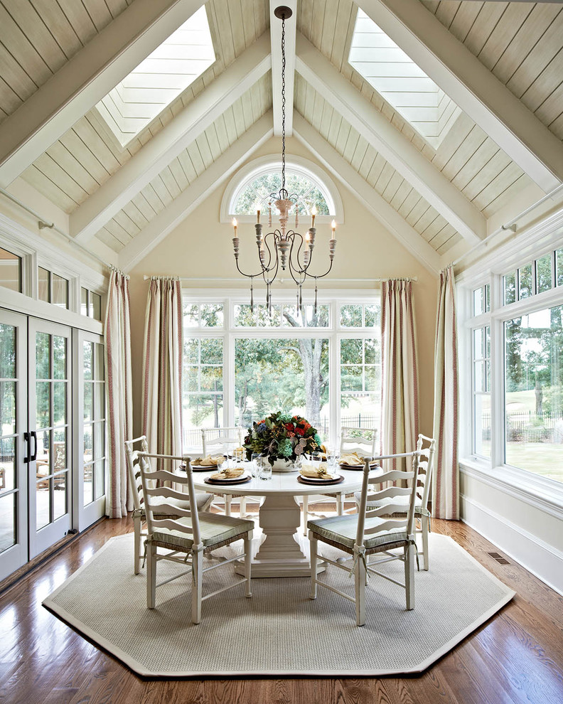 French country dark wood floor and brown floor dining room photo in Charlotte with beige walls
