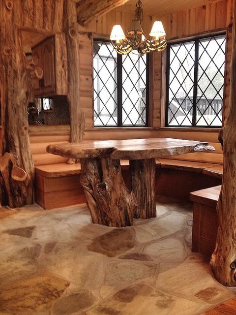 Cedar Log Breakfast Nook After Rustic Dining Room By