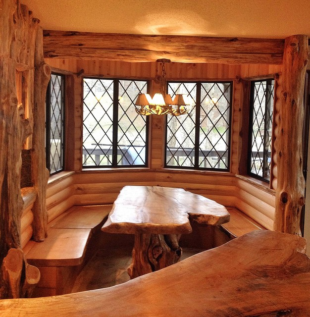 Cedar Log Breakfast Nook After Rustic Dining Room