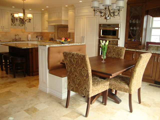 Center Island Banquette Transitional Kitchen Other