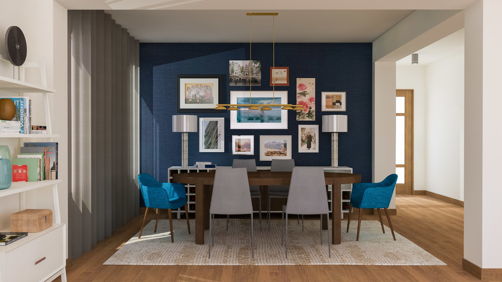 Inspiration for a mid-sized modern medium tone wood floor and brown floor enclosed dining room remodel in Seattle with no fireplace and blue walls