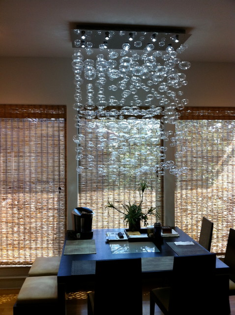 Perfect Chandelier Installation By Quatro Team Modern Dining Room