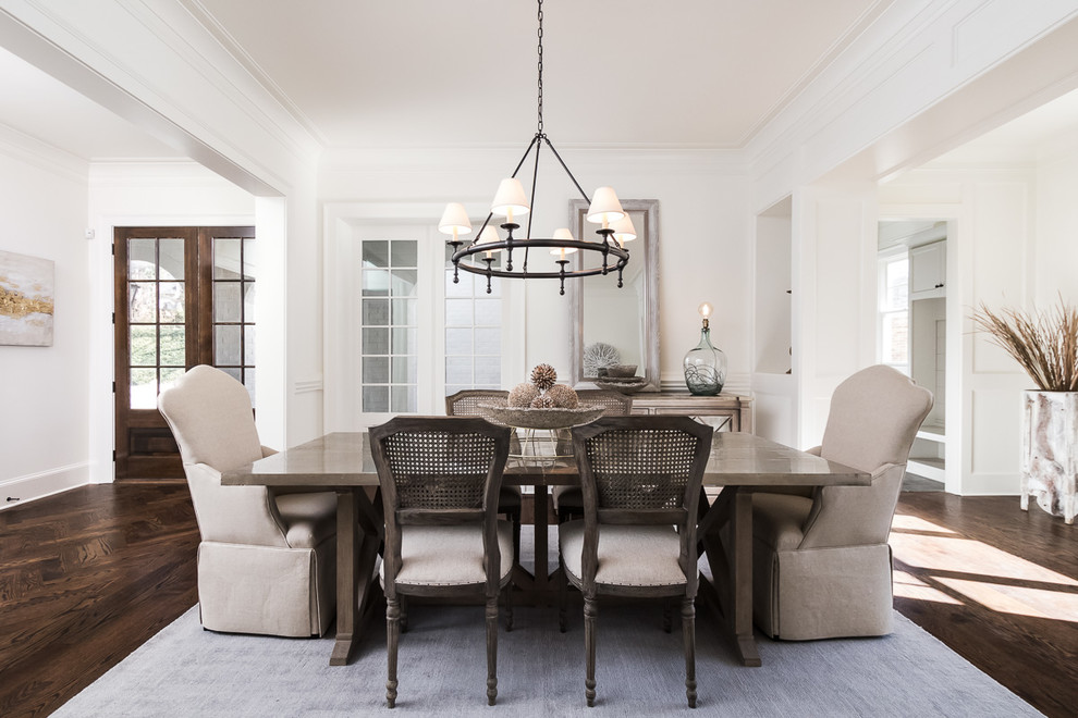 Inspiration for a transitional dark wood floor and brown floor dining room remodel in Atlanta with white walls